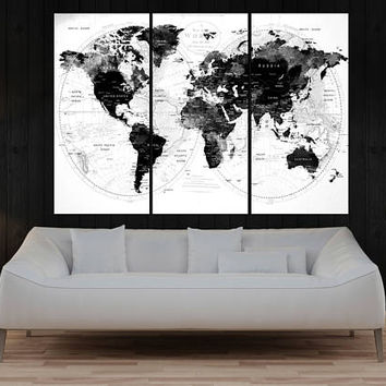 black and white push pin world map canvas print, Modern wall art, extra large wall art interior design home decor No:10S29