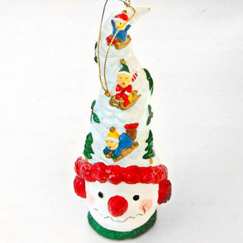 Vintage Christmas Holiday Decoration, Snowman, White, Tree Ornament, Embellishment