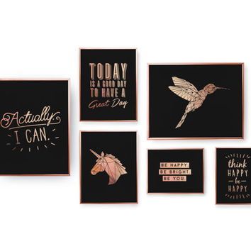 SET of 6 Prints, Motivational Prints, Typography Poster, Bedroom Decor, Rose Gold Foil Print, Home Decor, Motivation Wall Art, Rose Gold