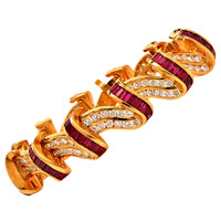 Charles Krypell Ruby Diamond Gold Bracelet