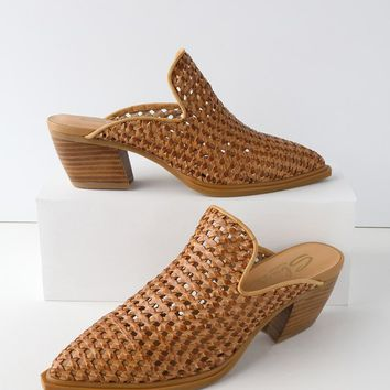 Mansion Tan Leather Woven Mules