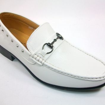Mens Rocus Studded Horse Bit Slip On Loafers Shoes 5007 White