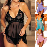 Sexy Lingerie Nightwear Underwear Ladies Sleepwear Babydoll + G String Lace = 5618781057