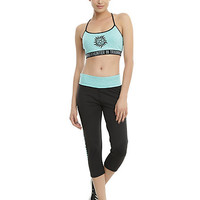 Supernatural Black & Teal Girls Active Capris