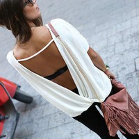VONE05RT Free Shipping Big Size Women Summer Loose Casual Blouse Women's Chiffon Backless Vest Tops Blouse Ladies Batwing Sleeve Blouse