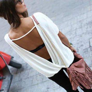 VOND4H Free Shipping Big Size Women Summer Loose Casual Blouse Women's Chiffon Backless Vest Tops Blouse Ladies Batwing Sleeve Blouse
