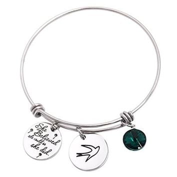 LParkin She Believed She Could So She Did Bracelet Bangle Birthstone Motivation Jewelry New Job Graduation Gift Inspiration Life Quote