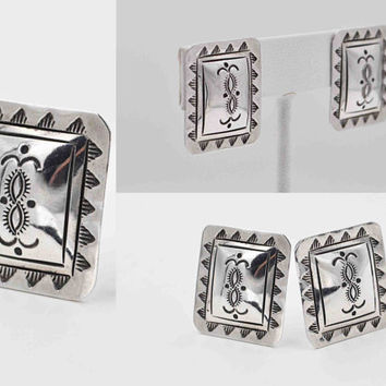 ON SALE Vintage Sterling Silver Concho Clip Earrings, Southwestern, Rectangular, Stamped, Sun Ray, Domed, Handcrafted, Handmade, Nice! #b823