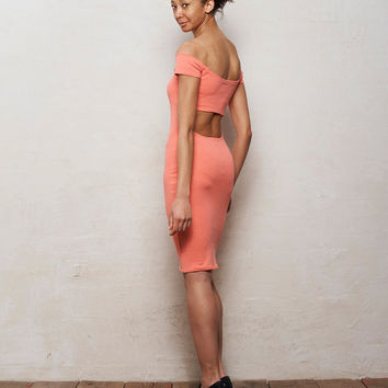 Pastel Coral Pink Off Shoulder Bodycon Bardot Dress with Cut Out