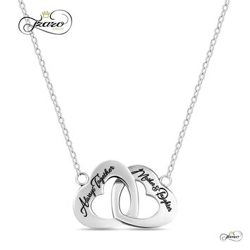 Mother Daughter Necklace, 925 Sterling Silver, Silver Plated Interlocking Heart Necklace