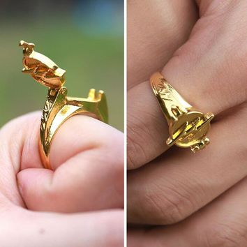 1 Piece TV Series The Flash Reverse Flash Finger Rings Gold Plated Cosplay Props Gift Collectibles Halloween with lid in Box