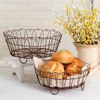 Set of Two Round Bread Baskets