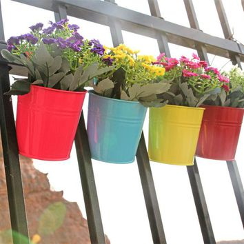 High Quality 10 Colors Hanging Flower Pot Hook Wall Pots Iron Flower Holder Balcony Garden Planter Home Decor Plant Pots S4709