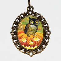 Pumpkin Owl Necklace, Halloween Jewelry, Horror, Owls, Bronze Oval Pendant