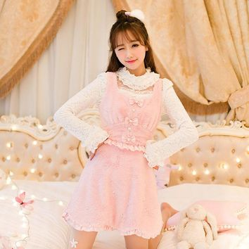 Princess sweet lolita pink dress Candy rain Japanese design Plush dress with shoulder straps High waisted dress C16CD6242
