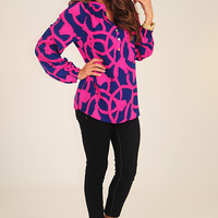 Tangled In You Top: Navy/Fuchsia