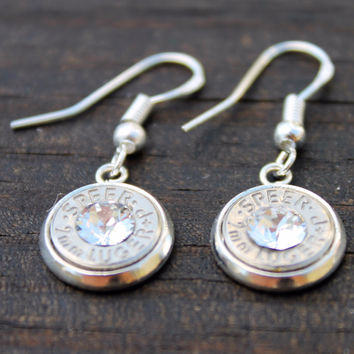 Clear Crystal 9mm Bullet Dangle Earrings