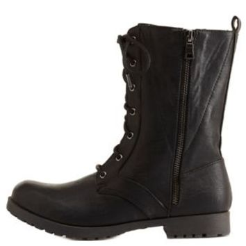 Qupid Zipper-Trim Combat Boots by