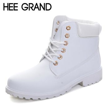 HEE GRAND Lace Up Candy Colors Women Martin Boots 2017 Creepers British Style Ankle Boots Casual Shoes Woman Size 36-41 XWX5959