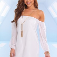 White Chiffon Off the Shoulder Dress with 3/4 Sleeves