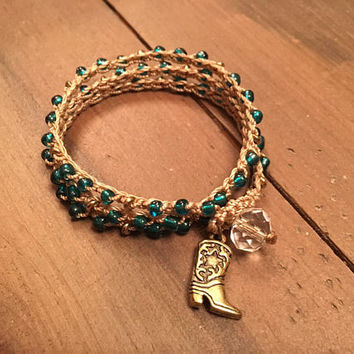Country Western Beaded Crochet Cowgirl Wrap Bracelet - Boot Charm - Teal and Gold