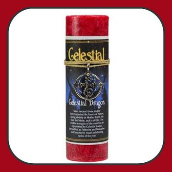 """Celestial Dragon"" Pillar Candle with Ritual Necklace"