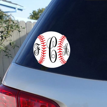 Baseball Monogram Car Decal | Baseball Car Decal