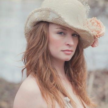 Wedding Hat, Vintage Lace Hats For Wedding, Vintage Bridal Headpiece With Lace