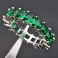 Full  Emerald  Sterling Silver  Ring