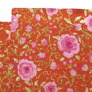 Large Cloth Placemats - Red Pink Flowers -  Reversible - Sets of 2