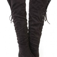 Black Closed Toe Thigh High Boots Faux Suede