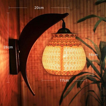 LED Wall Lights For Living Room Porcelain Lampshade Wood Holder Night Light Indoor Led Chinese Wall Lamp For Kids Room