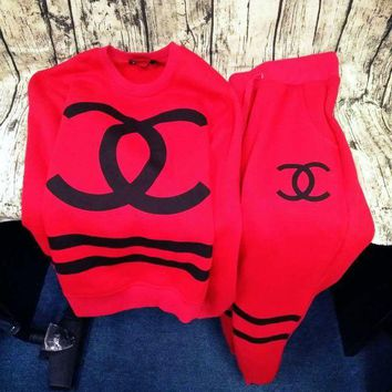 Tagre™ Chanel CC Logo Print Top Sweater Pullover Pants Trousers Set Two-Piece Sportswear