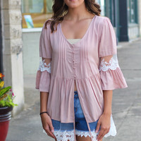 Lace Belles Open Button Top {Taupe}
