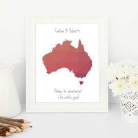 creative gifts, unique gifts, countries, customised maps, personalised maps, custom maps, personalised print, hipster wedding, australia map