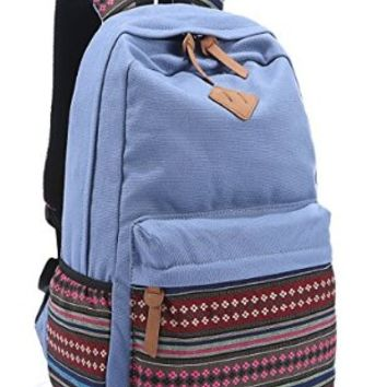 Leaper Causal Style Lightweight Canvas Laptop Bag/ Shoulder Bag/ School Backpack/ Travel Bag/ Handbag with Embroidery Design (Medium, Khaki+ Flower)