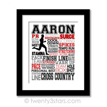 Boy's Cross Country Typography Wall Art - Choose Any Colors - twenty3stars