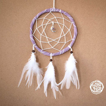 Dream Catcher - Purple Moon - With Unique Moon Amulet, White Feathers and Purple Frame - Home Decor, Nursery Mobile