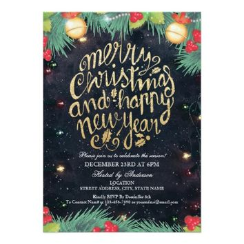 Black Gold Merry Christmas & Happy New Year Party Card