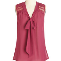 ModCloth Mid-length Sleeveless Science of Chic Top in Magenta