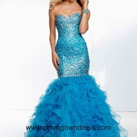 Mermaid Teal Sweetheart Prom Dress with Ruffles and Sequins Style OLEM041,2014 Prom Dresses