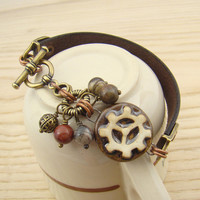 Earthtone gear bracelet, steampunk leather mixed metal ceramic earthtones, 7 1/4 inches