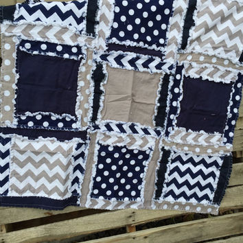 Flash SALE Boy RAG QUILT, Baby Blanket in Navy Blue and Gray Ready to Ship 33x33 inches