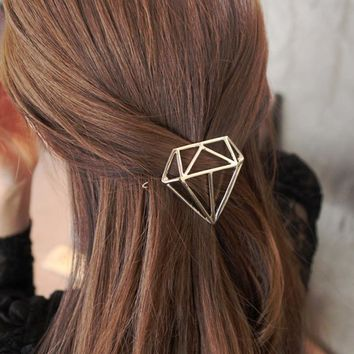 Diamond Shape Golden Silver Metallic Hair Clips and Pins for Girls Women Fashion Headwear Hairpins