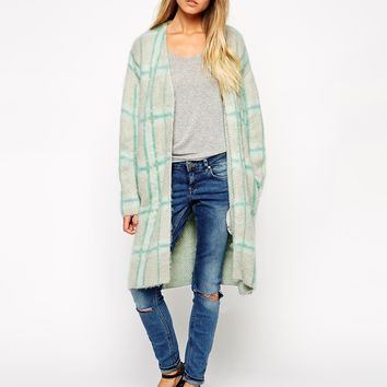 ASOS Longline Cardigan In Brushed Check
