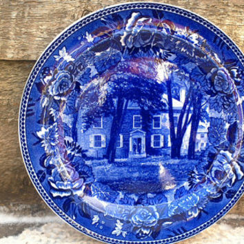 "Antique Blue WEDGWOOD Fort Johnson, Amsterdam, N.Y. Historical Plate 9 1/4"" - Blue Transferware Dinner Plate - English Transferware"