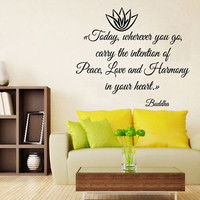 Wall Decals Vinyl Decal Sticker Art Murals Buddha Quote Piece Love Lotus KG732