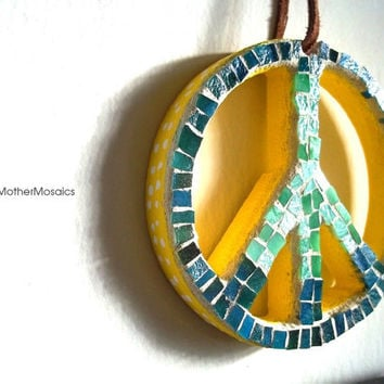 Mosaic Peace Sign: Stained Glass Ornament, Wall Art, Ocean Blue, Fern Green, Yellow
