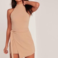 Missguided - Nude Wrap Tie Waist Sleeve Playsuit