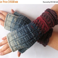 regular price Fingerless Gloves Burgundy Red Blue Azure Gray Arm Warmers Knit Soft Acrylic Wool